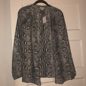 Snakeskin button up blouse Jcrew 2x